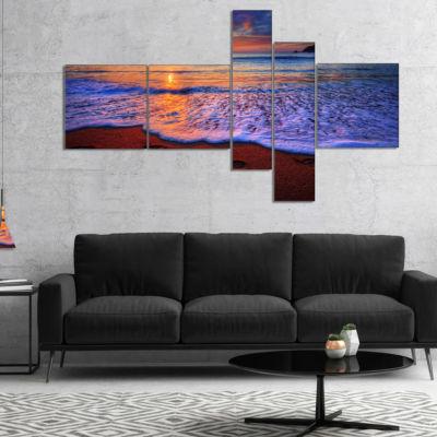 Designart Colorful Sunset Over Beautiful Shore Multipanel Seashore Canvas Art Print - 4 Panels