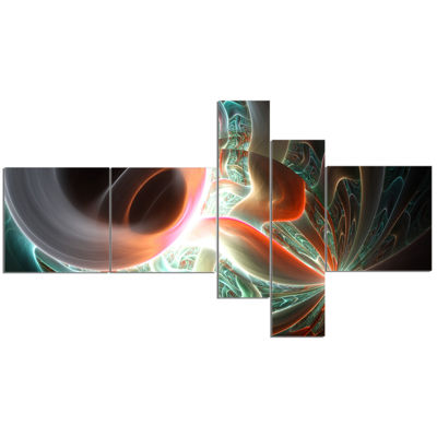 Designart Shining Brown Silver On Black MultipanelAbstract Wall Art Canvas - 5 Panels