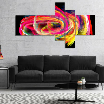 Designart Colorful Thick Strokes In Black Multipanel Large Abstract Art - 5 Panels