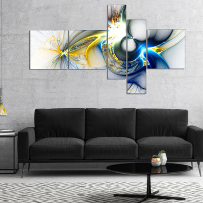Designart Shining Multi Colored Plasma MultipanelAbstract Wall Art Canvas - 4 Panels