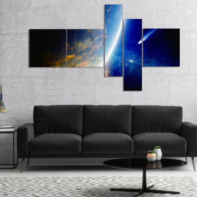 Designart Comet Approaching Earth Multipanel Spacescape Canvas Art Print - 4 Panels