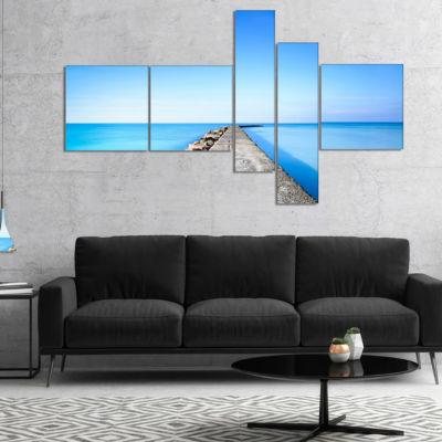 Designart Concrete And Rocks Pier Multipanel Seascape Canvas Art Print - 5 Panels