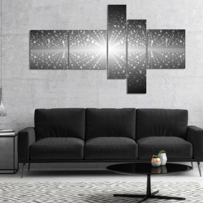 Designart Cosmic Galaxy With Shining Stars Multipanel Abstract Wall Art Canvas - 5 Panels