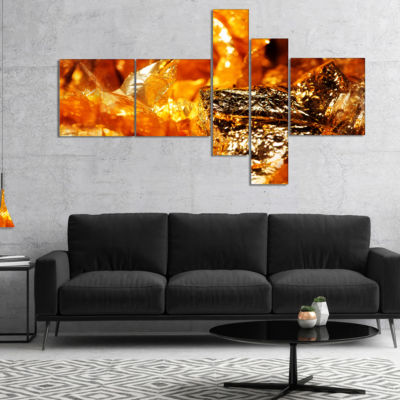 Design Art Shiny Orange Gold Foil Multipanel Abstract Canvas Art Print - 4 Panels