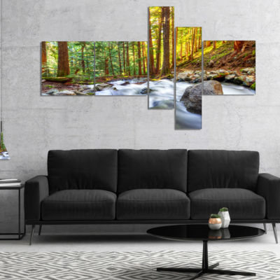 Designart Creek Flowing Through Forest MultipanelLandscape Canvas Art Print - 4 Panels