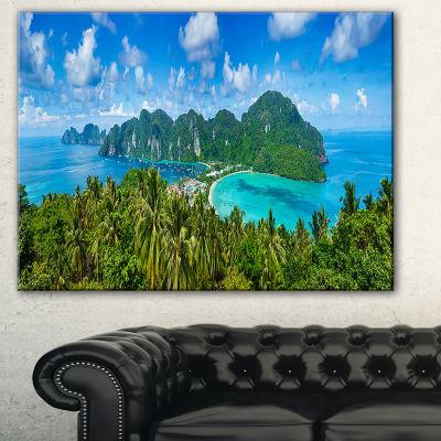 Designart Tropical Island Panorama Photography Canvas Art Print