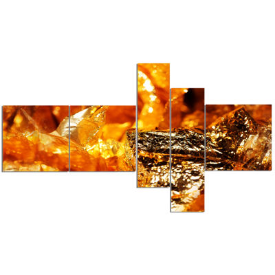 Designart Shiny Orange Gold Foil Multipanel Abstract Canvas Art Print - 5 Panels