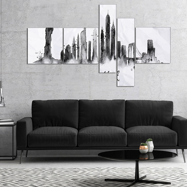 Designart Silhouette Ink New York Multipanel Cityscape Canvas Art Print - 5 Panels