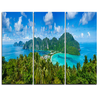 Designart Tropical Island Panorama Photography Canvas Art Print - 3 Panels
