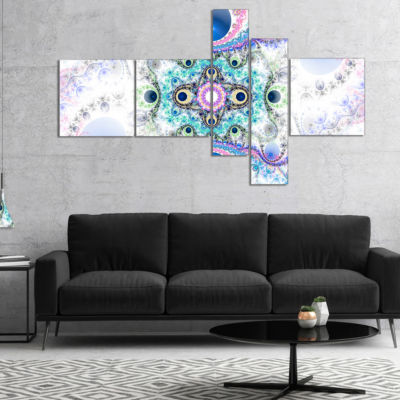 Designart Cryptical Blue Fractal Pattern Multipanel Abstract Wall Art Canvas - 5 Panels