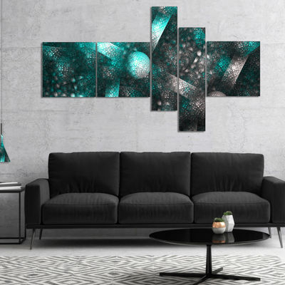 Designart Crystal Cell Blue Steel Texture Multipanel Abstract Canvas Art Print - 4 Panels