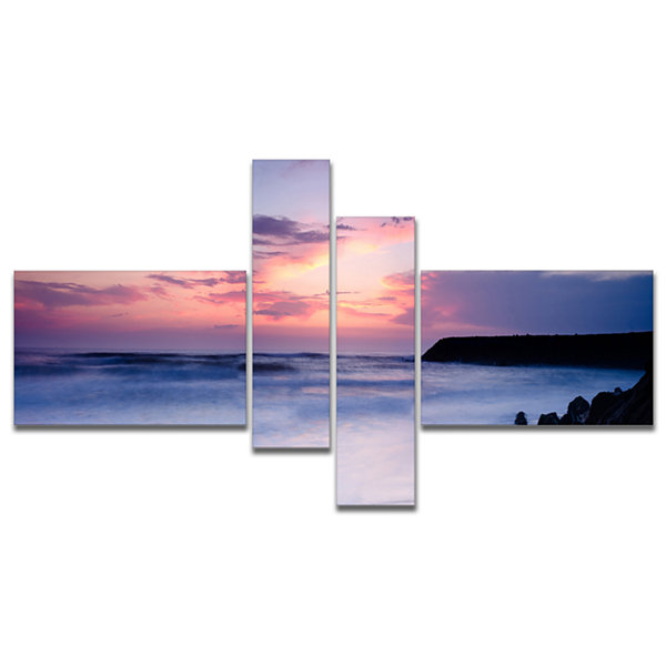 Designart Silky Waters Around Rocks Multipanel Seashore Photo Canvas Art Print - 4 Panels