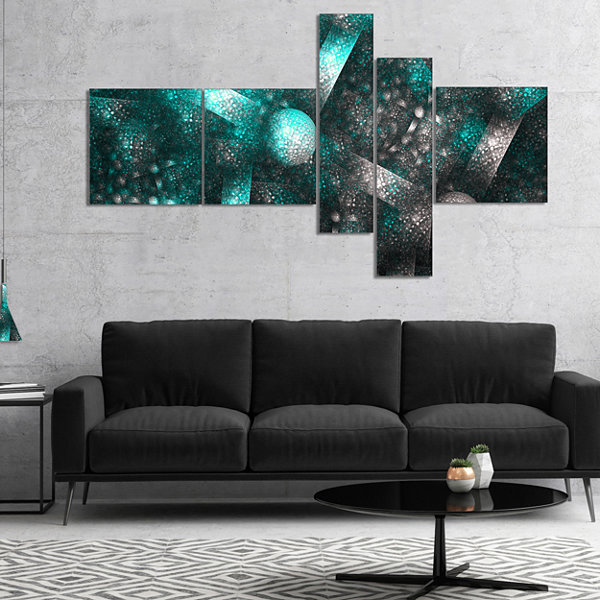 Designart Crystal Cell Blue Steel Texture Multipanel Abstract Canvas Art Print - 5 Panels