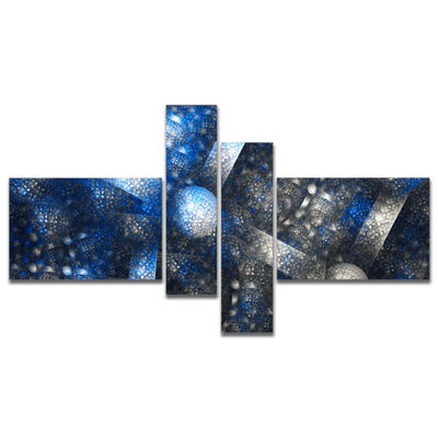 Designart Crystal Cell Dark Blue Steel Texture Multipanel Abstract Wall Art Canvas - 4 Panels