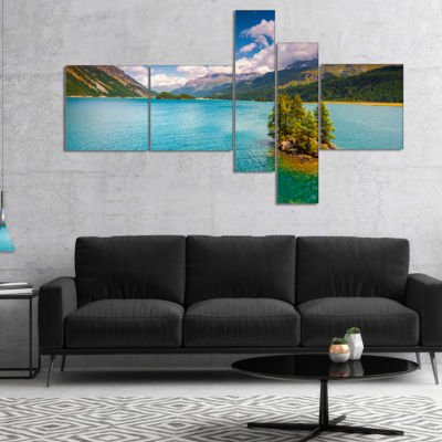 Designart Silsersee Lake In The Swiss Alps Multipanel Landscape Canvas Art Print - 5 Panels