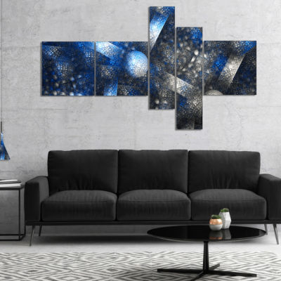 Designart Crystal Cell Dark Blue Steel Texture Multipanel Abstract Wall Art Canvas - 5 Panels