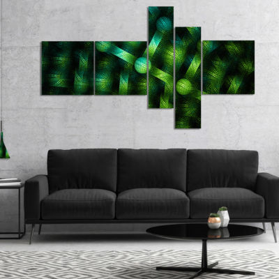 Designart Crystal Cell Green Steel Texture Multipanel Abstract Canvas Art Print - 5 Panels