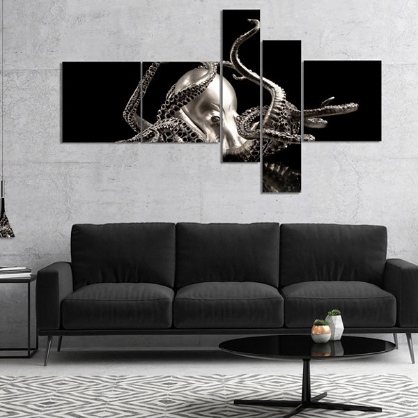 Designart Silver Octopus Multipanel Abstract Canvas Art Print - 5 Panels