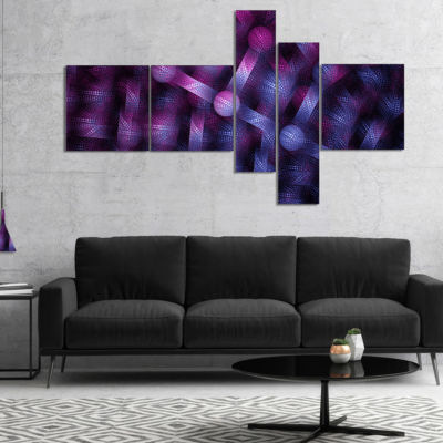 Designart Crystal Cell Purple Steel Texture Multipanel Abstract Wall Art Canvas - 5 Panels