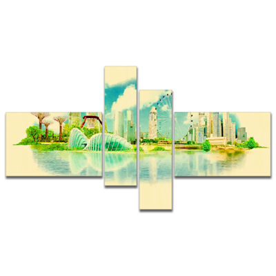 Designart Singapore Panoramic View Multipanel Cityscape Watercolor Canvas Print - 4 Panels