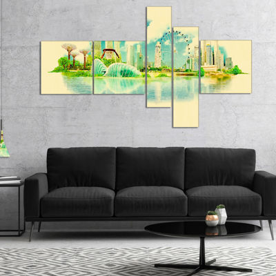 Designart Singapore Panoramic View Multipanel Cityscape Watercolor Canvas Print - 5 Panels
