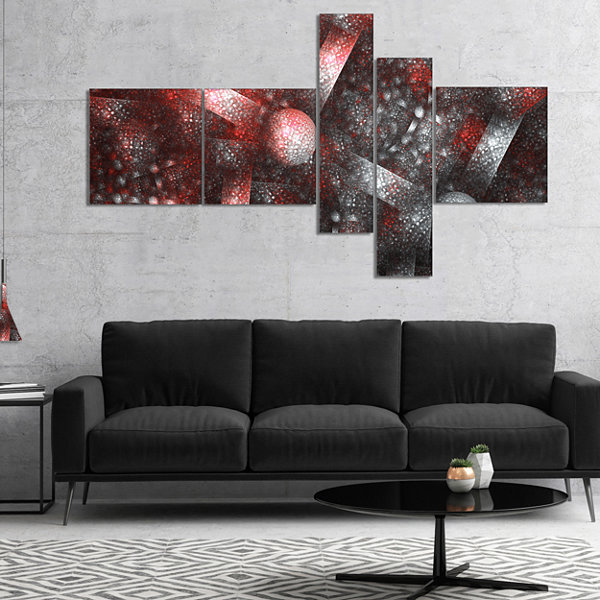 Designart Crystal Cell Red Steel Texture Multipanel Abstract Canvas Art Print - 5 Panels