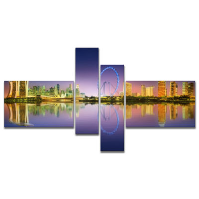 Designart Singapore Skyline And Blue Sky Multipanel Cityscape Canvas Art Print - 4 Panels