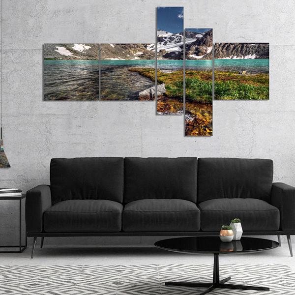 Designart Crystal Clear Creek In Mountains Multipanel Landscape Canvas Art Print - 5 Panels