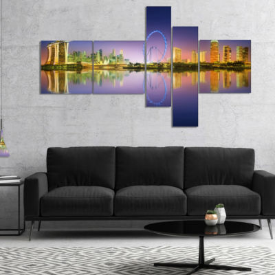 Designart Singapore Skyline And Blue Sky Multipanel Cityscape Canvas Art Print - 5 Panels