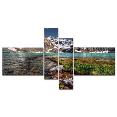 Designart Crystal Clear Creek In Mountains Multipanel Large Landscape Canvas Art Print - 4 Panels