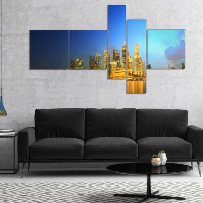 Designart Singapore Skyline And Marina Bay Multipanel Cityscape Canvas Art Print - 5 Panels