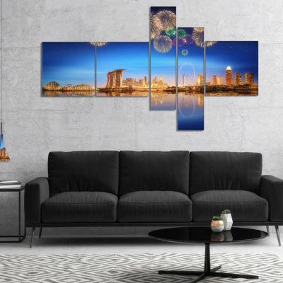 Designart Singapore Skyline Multipanel CityscapePhotography Canvas Art Print - 5 Panels
