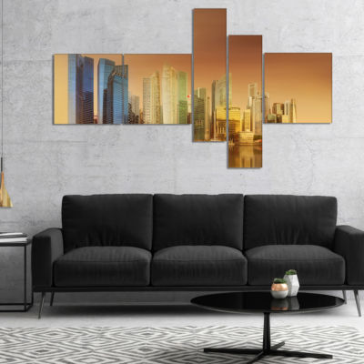 Designart Singapore Skyline Under Brown Sky Multipanel Cityscape Canvas Art Print - 5 Panels