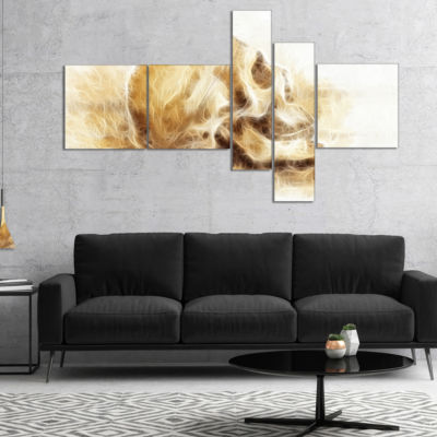 Designart Skull On Paper Fractal Effect MultipanelAbstract Canvas Art Print - 4 Panels