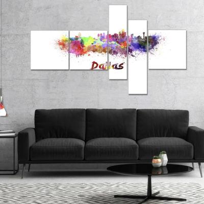 Designart Dallas Skyline Multipanel Cityscape Canvas Artwork Print - 5 Panels