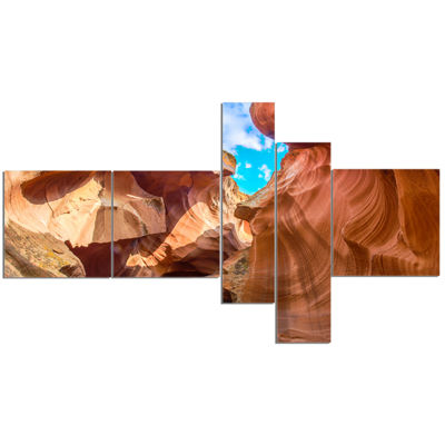 Designart Sky From Antelope Canyon Multipanel Landscape Photo Canvas Art Print - 5 Panels