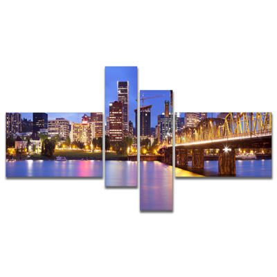 Designart Skyline Across The Willamette River Multipanel Cityscape Canvas Art Print - 4 Panels