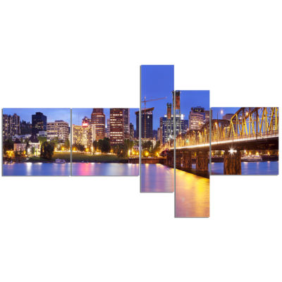 Designart Skyline Across The Willamette River Multipanel Cityscape Canvas Art Print - 5 Panels