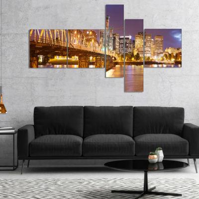 Designart Skyline Of Portland Panorama MultipanelCityscape Canvas Art Print - 4 Panels