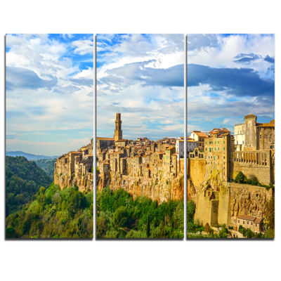 Designart Tuscany Pitigliano Medieval Village Photography Canvas Art Print - 3 Panels