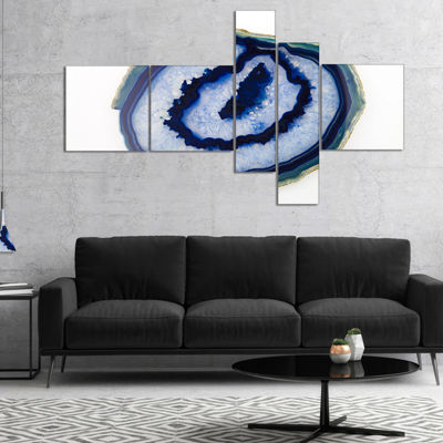 Designart Slice Of Beautiful Blue Agate MultipanelAbstract Canvas Wall Art Print - 5 Panels