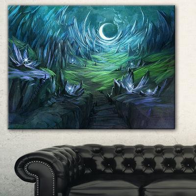 Designart Twilight Valley Landscape Abstract Canvas Art Print - 3 Panels