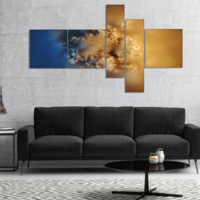 Designart Small Macro Prickly Texture Brown Multipanel Abstract Canvas Wall Art - 5 Panels
