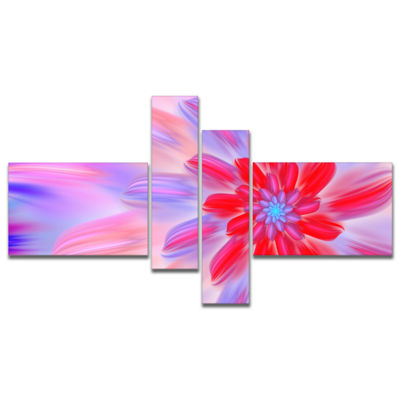 Designart Dance Of Fractal Pink Petals MultipanelAbstract Wall Art Canvas - 4 Panels