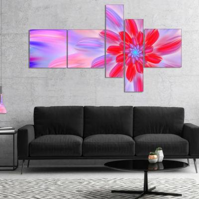 Designart Dance Of Fractal Pink Petals MultipanelAbstract Wall Art Canvas - 5 Panels