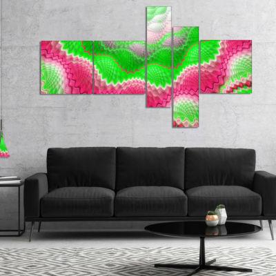 Design Art Snake Skin Exotic Flower Multipanel Abstract Wall Art Canvas - 5 Panels