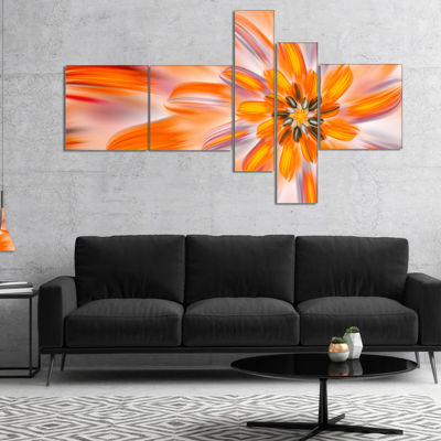 Designart Dance Of Fractal Yellow Petals Multipanel Abstract Wall Art Canvas - 4 Panels