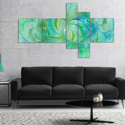 Designart Snow Fractal Glass Texture Multipanel Abstract Canvas Art Print - 5 Panels