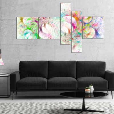 Designart Snow Fractal Ornamental Glass MultipanelAbstract Canvas Art Print - 5 Panels