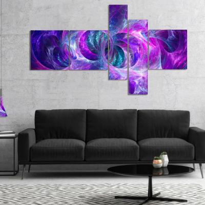 Designart Snow Purple Fractal Texture Multipanel Abstract Canvas Art Print - 4 Panels